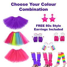 80s Womens Girls Fancy Dress Costume - Tutu Skirt Leg Warmers Gloves Earrings