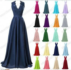 New Long Chiffon Evening Formal Party Ball Gown Prom Bridesmaid Dress Size 6-30