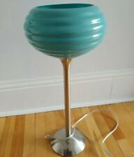 Vintage Art Deco Inspired Table Lamp with Glass Globe on Chrome Leg