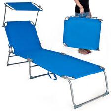 Tumbona plegable para ocio y jardín playa ocio hamaca con toldo Azul