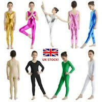 UK Girls Gymnastics Leotards Metallic Ballet Dance Wear Sport Bodysuit Jumpsuit