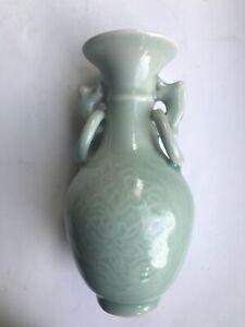 Old Vintage Chinese Celadon Green Porcelain Vase Ring Handles Blue Mark on base