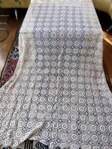 Vintage Heavy Cotton Off-white Light Ecru Crochet Lace 62x94 Tablecloth Coverlet