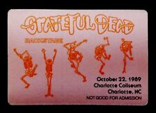 Grateful Dead Backstage Pass North Carolina Charlotte NC 10/22/1989 GD Skeletons