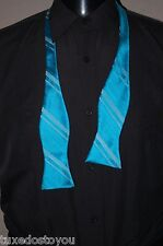 New Pool Blue Stripe Satin Self Tie to Tie Tuxedo formal shirt U.S.A.