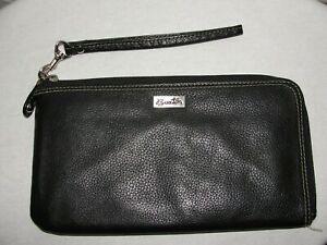 BUXTON Purse Women's Black Leather Shell RFID L-Zip Expandable Wristlet Wallet