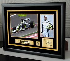 "Jenson Button F1 2009 BRAWN GP Limited Edition Framed Canvas Signed ""Great Gift"""