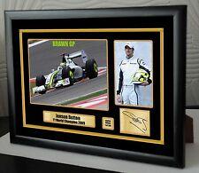 """Jenson Button F1 2009 Brawn GP lienzo enmarcado Edición Limitada Firmada """"gran regalo"""""""