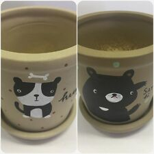 2 Set Unique Handmade plant pot flower pot and hand painted. #PP9-2