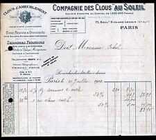 """PARIS (XI°) QUINCAILLERIE / CLOUTERIE """"COMPAGNIE des CLOUS / AU SOLEIL"""" en 1922"""