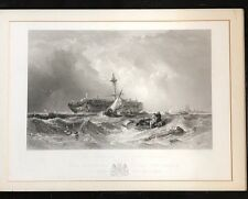 Wonderful Framed Steel Engraving 'The Morning After The Wreck A Dutch East India