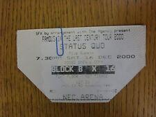 16/12/2000 Ticket: Music Concert - Status Quo [At NEC, Birmingham] (Corner Remov