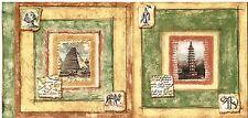 PARIS JAPAN EGYPT WONDERS EIFFEL TOWER PYRAMID Wallpaper bordeR Wall Decor