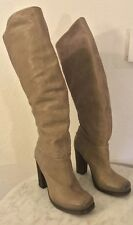 VIC MATIE Light Brown Distressed Leather Platform Boots. Women's Sz 39 M. Italy.
