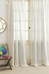 "NEW Anthropologie Pom Tassel Curtain Cream Stripe 50x84"""