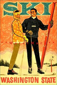 Ski Washington State 1950 Vintage Poster Print Retro Style Art Winter Sports