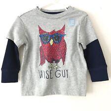 GAP Boys Long Sleeve Crew Neck T Shirt Overshirt Layered Look Owl Graphic 18-24M