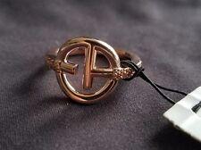EMPORIO ARMANI Copper Sterling Silver Cubic Zirconia Logo Ring Size 5.5 NWT $125