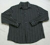 John Henry Black White Striped Dress Shirt XL Cotton Long Sleeve Button Up Mans