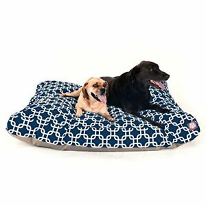 Navy Blue Links Extra Large Rectangle Indoor Outdoor Pet Dog Bed With Removab...