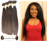 Human Hair Bundles Extension Weave Straight Yaki Texture Black Tangle Free