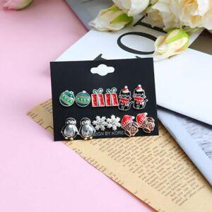 6pair/set Penguin Christmas Stud Earrings Set Women Girls Ear Cartoon Jewelry UK