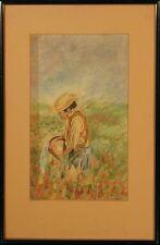 Original Pastel: Tending His Flowers
