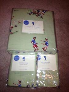 NEW Pottery Barn Kids Soccer F/Q Full/Queen duvet And 2 Standard Shams