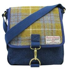 Authentic Harris Tweed Crossover Messenger Bag - Denim / Yellow HC008
