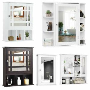 Wooden Bathroom Wall Medicine Cabinet Shelf Storage Organizer with Mirror Door