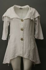 MADE IN ITALY LINEN SUMMER BIG COLLAR TIED SHAPELY JACKET TRUE WHITE PLUS SIZE 2