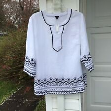 NWT Talbots Gorgeous White Linen Beautiful BlackEmbroidery Lace Tunic 3X 22W 24W