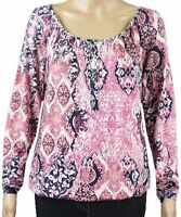New Ex George Ladies Pink Jersey Long Sleeve Peasant Gypsy Casual Top Size 8
