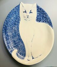 Cat Plate Holiday Dish Home Decor Ceramic Embossed