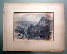 VINTAGE ENGRAVING--BATTLE FOR A HILL-- MEN WITH LONG RIFLES FIGHTING--PALM TREES