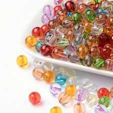100 Acrylperlen 8mm Transparent klar Mix Bunt Acryl Perlen (1596)
