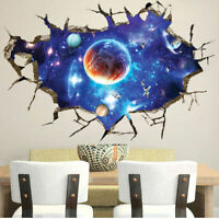 3D Outer Space Wall Stickers Home Decor Mural Art Removable Galaxy Wall Decals