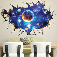 3D Outer Galaxy Space Wall Stickers Home Decor Mural Art Removable Wall Decals.