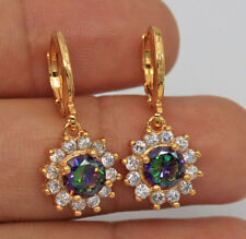 18K Yellow Gold Filled -Round MYSTICAL Topaz Sunflowe Prom Hoop Earrings 2.6CM