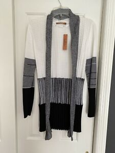 Belle by Belldini Womens White Grey Black Ruffled Cardigan Sweater Size S NWT