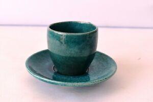"Vintage Tea Cup Saucer Earthen Handmade Mitti Terecotta Ceramic Green Porcelai""F"