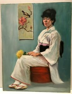 Vintage Portrait Painting, Japanese Portrait Painting, Original Painting 22x28