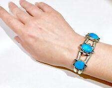 Vintage Navajo Sterling Silver bright blue Turquoise Bracelet