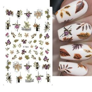 Nail Art Stickers Decals Autumn Winter Fall Flowers Floral Fern Leaf Leaves F784