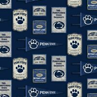 Penn State Nittany Lions Cotton Fabric Vintage Pennant Design-By the Yard