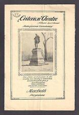 "James K. Hackett ""MACBETH"" Viola Allen / Mrs. Alexander Salvini 1916 Program"