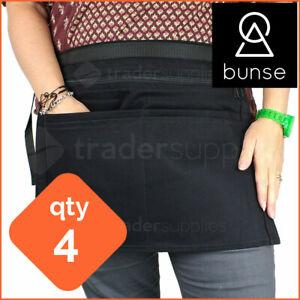 4 x BUNSE 6 Pocket Black Denim Market Trader Money Bag Cash Belt Pocket Pouch