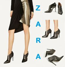 ZARA Wrap Around Goat Leather High Heel Ankle Boots New Elegant Shoes Us 7.5