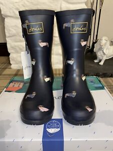 Joules Size 7 Navy & Yellow Dog Print Molly Mid Height Wellies Very Cute Design