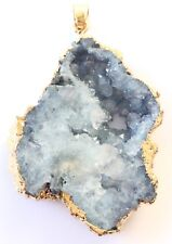 Gold plated Edge Natural Stormy Blue Gemstone Pendant-Jewelry Supplies